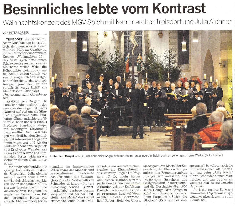 2014.12.20 Kölner Rundschau vom 20.12.2014